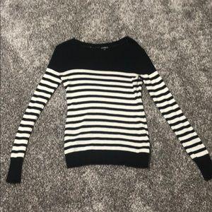 Express Black/White striped sweater